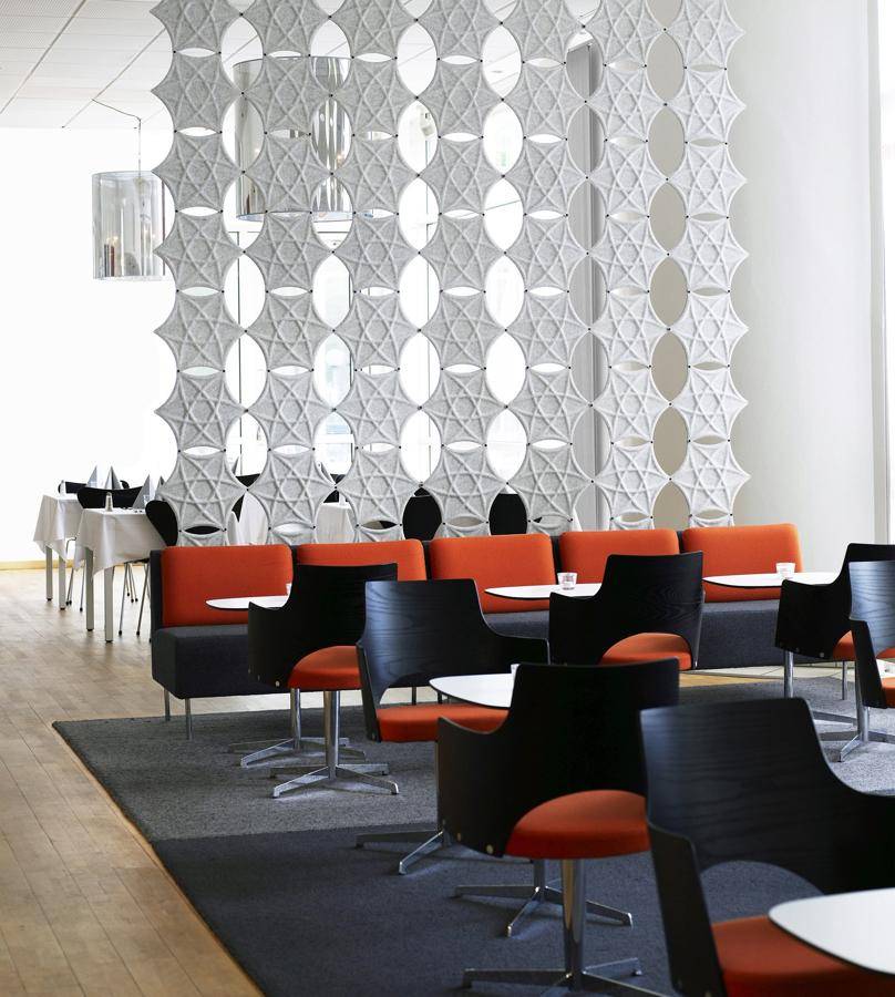 Airflake divider screen for defining office space