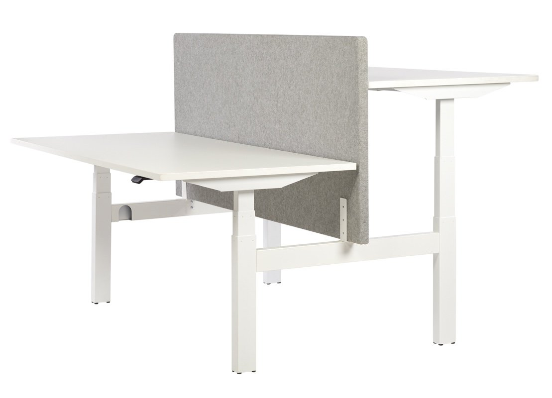 Sit/stand bench desk with white frame and desktops