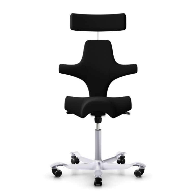HAG Capisco Chair 8107 with headrest.  Black Xtreme fabric upholstery (100% recycled)  with silver base