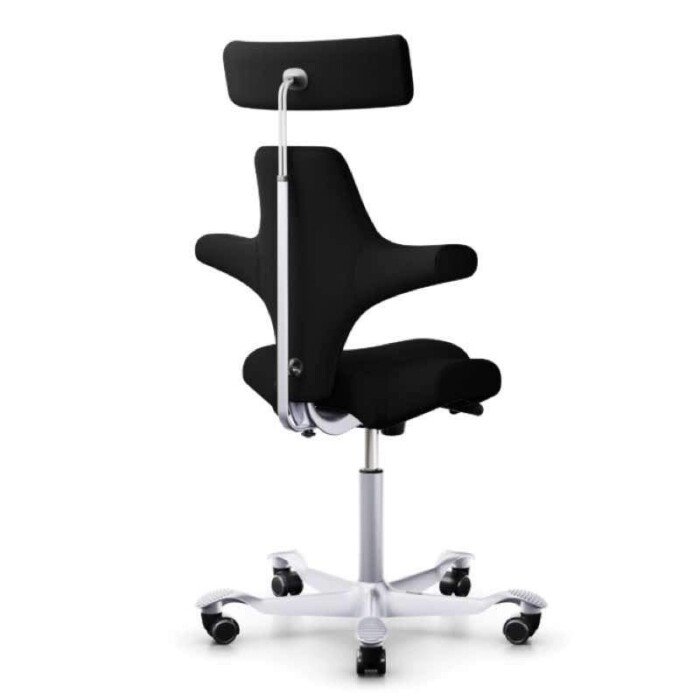 HAG Capisco Chair 8107 with headrest.  Black upholstery, silver base and backrest
