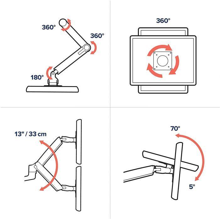 Ergotron LX Dual Stacking Monitor Arm   Tall Pole