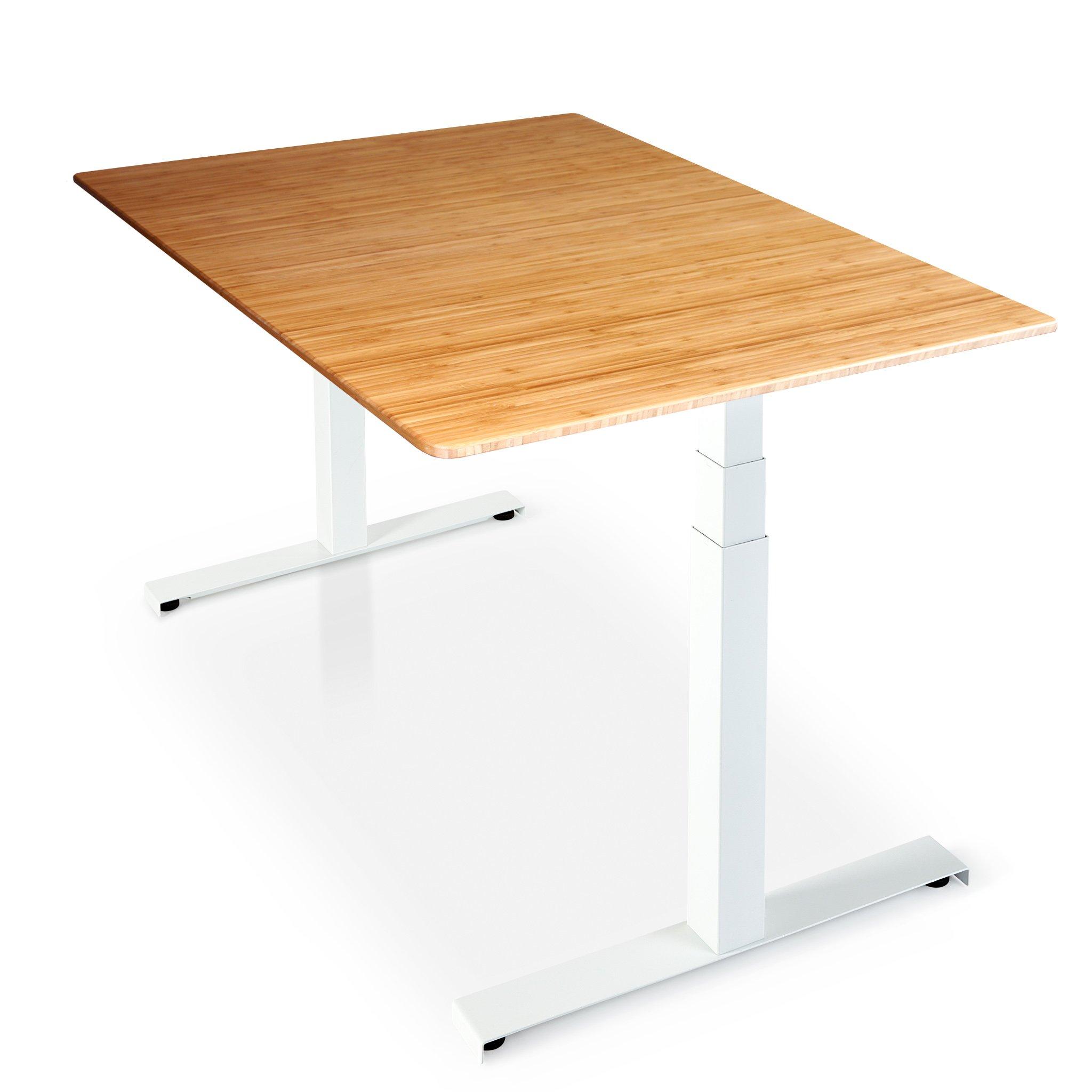 Sisu Bamboo Standing Desk with white frame