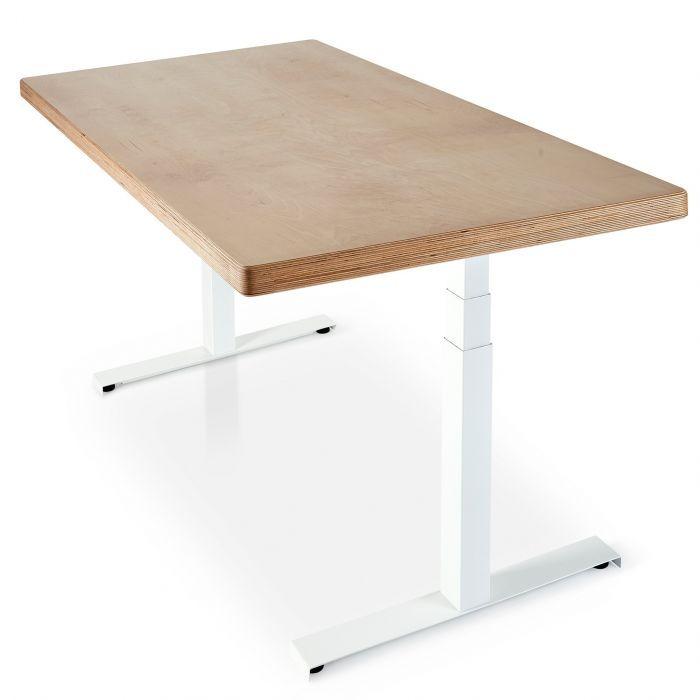 Sisu Birch Plywood Standing Desk with black adjustable Skyflo frame