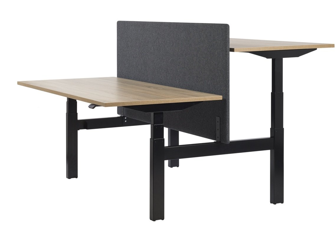 Black frame sit/stand bench desk with wood effect tops