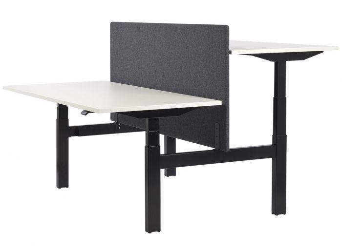 Standing bench desk, black frame with white desktops