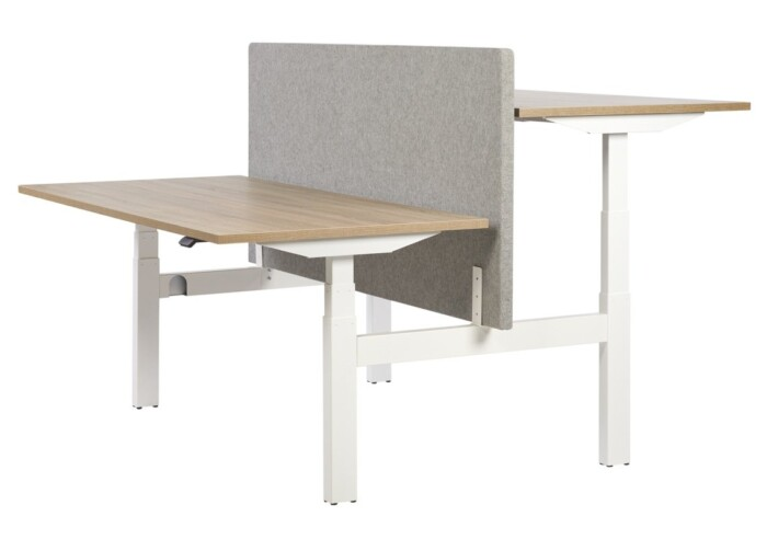 Height adjustable bench desk with white frame and wood effect desktops