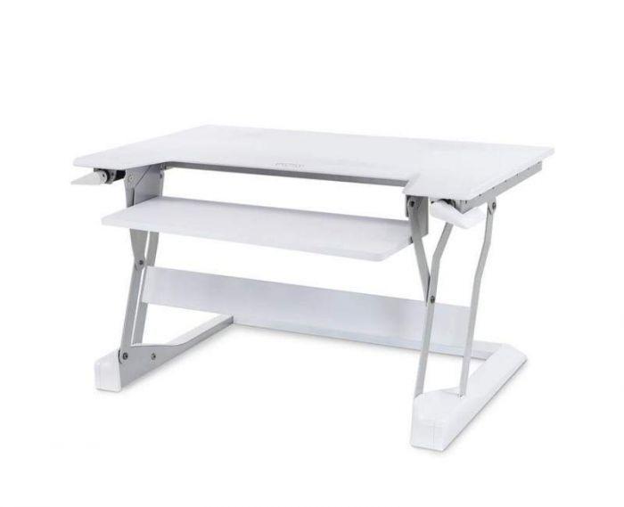 White WorkFit-TL Standing Desk Riser from Ergotron