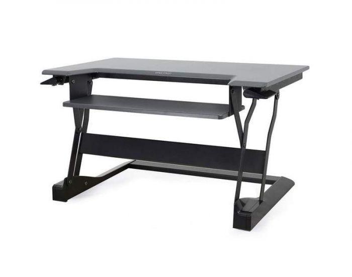 Black WorkFit-TL Standing Desk Riser from Ergotron