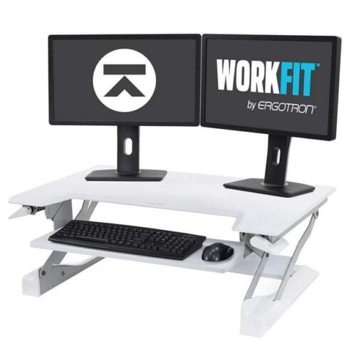 WorkFit-TL Standing Desk Riser with dual monitors from Ergotron